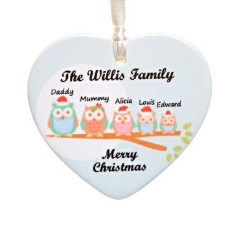 Christmas Owl Family Ceramic Heart - Personalised Christmas Tree Decoration